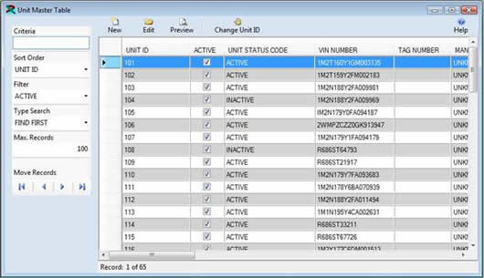 Unit Information In FuelWise - Table management software